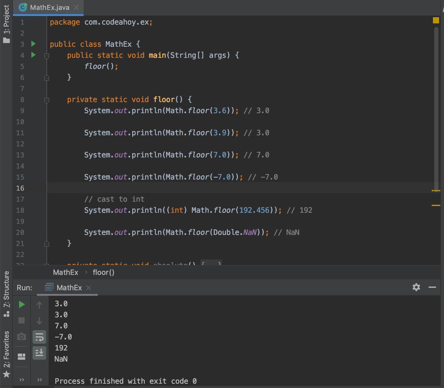 Math.floor code exampe